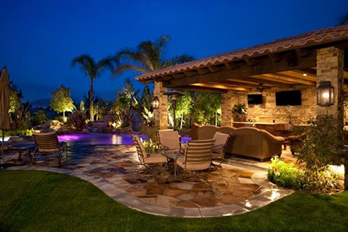 Landscaping around pool area